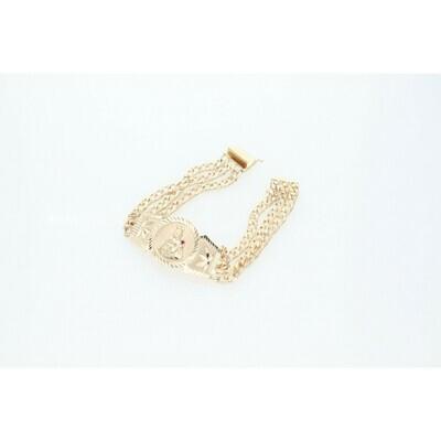 10 Karat Gold & Zirconium St. Barbara Valentino Triple Pavé Cuban Link Bracelet