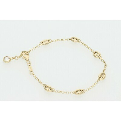 14 Karat Gold & Zirconium Puff Mariner Rollo Bracelet