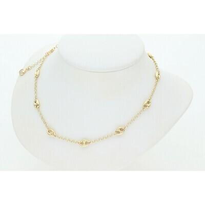 14 Karat Gold & Zirconium Puff Mariner Rollo Chain
