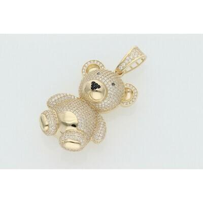 14 Karat Gold & Zirconium Big 3D Bear Charm