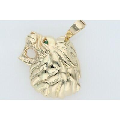 14 Karat Gold & Zirconium 3D Lion Charm