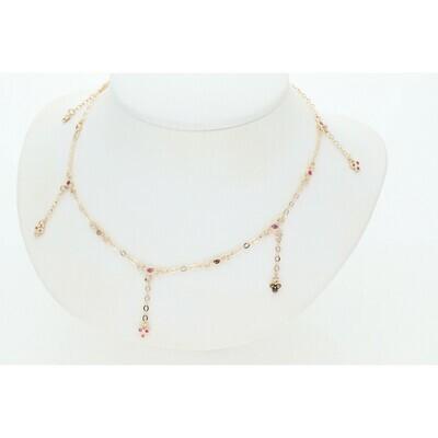 14 Karat Gold & Zirconium Pink Little Flowers Rollo Necklace