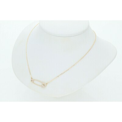 14 Karat Gold & Zirconium Safety Hook Rollo Necklace