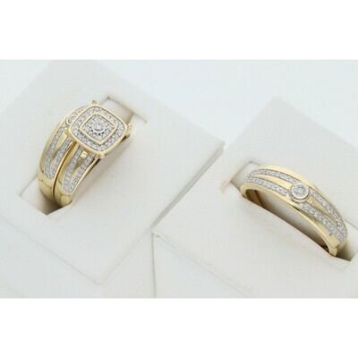 14 Karat Gold & Diamond Two Lines Square Circle Wedding Trio Set Rings