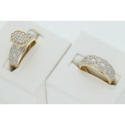 14 Karat Gold & Diamonds Infinite Oval Flower Wedding Duo Set Rings