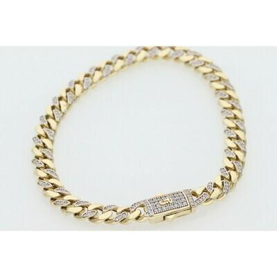 10 Karat Gold & Cz Cuban Link Monaco Bracelet 6.6mm x 8