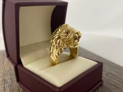 10 Karat Gold & Zirconium 3D Lion Ring