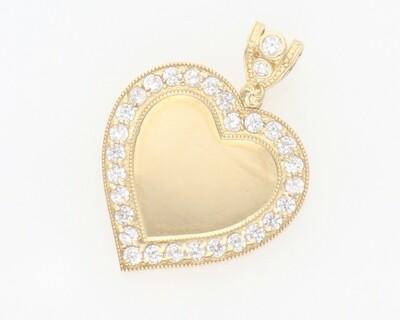 10 Karat Gold & Zirconium Photo Heart Medal