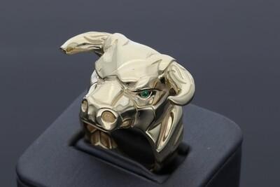 10 Karat Gold & Zirconium 3D Bull Ring