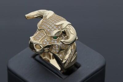 10 Karat Gold & Zirconium Covered bull Ring