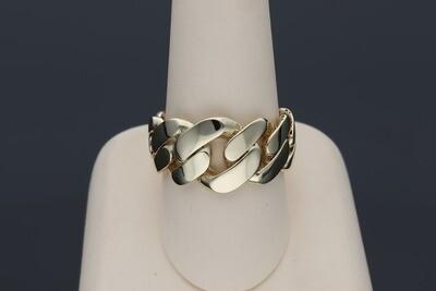 14 Karat Gold Uneven Miami Cuban Link Ring