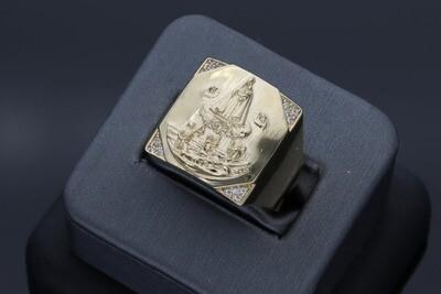 14 Karat Gold & Zirconium Caridad del Cobre Ring
