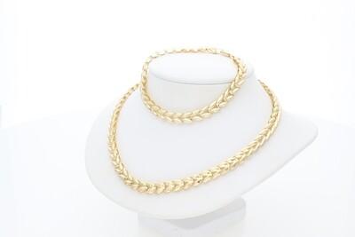14 Karat Gold Big Spike Link Set Bracelet Necklace