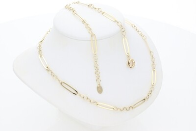 10 Karat Gold Set Long Figaro Set Bracelet Necklace