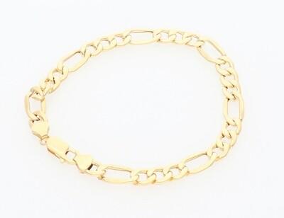 14 Karat Solid Gold Figaro Bracelet