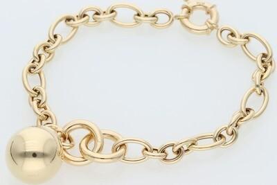 14 Karat Gold Ball Uneven Rollo Bracelet