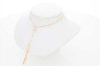 14 Karat Gold & Zirconium Ball Pendant Rollo Necklace