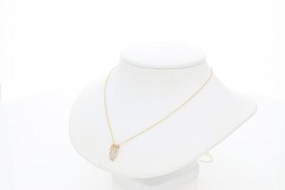 14 Karat Gold & Diamond Tiny Rollo Girl Necklace