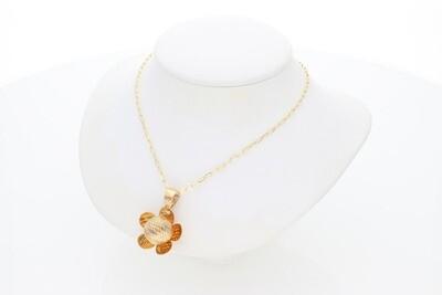 14 Karat Gold Textured Ball Flower Rollo Necklace