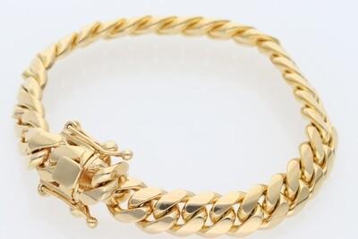 14 Karat Solid Gold Miami Cuban Link Bracelet 10 Millimeters