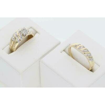 14 Karat Gold & Diamonds Little Square Lined Wedding Trio Set Rings