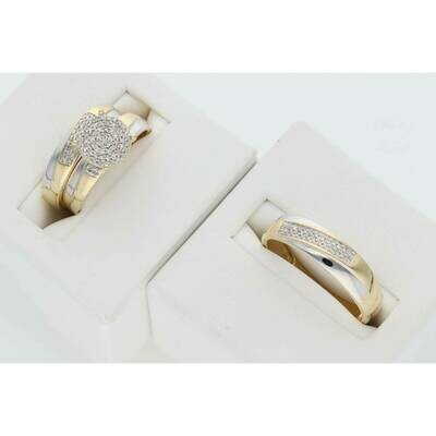 14 Karat Gold & Diamond Flat Disc Head Wedding Trio Set Rings