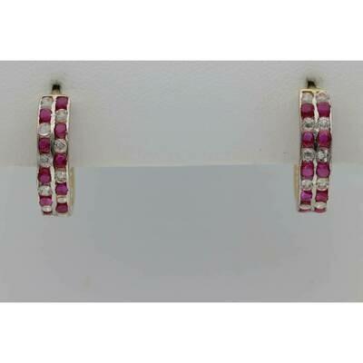 14 Karat Gold & Zirconium Pink White Hoops