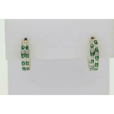 14 Karat Gold & Zirconium Green White Hoops