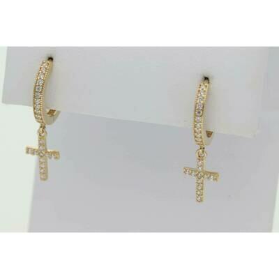 14 Karat Gold & Zirconium Cross Hoops