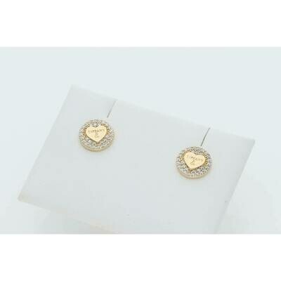 14 Karat Gold & Zirconium Circle Heart Fancy T Earrings