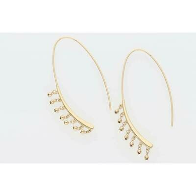 14 Karat Gold Moon Style Long Earrings