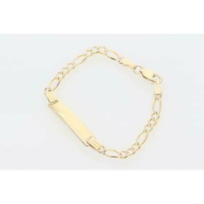 10 Karat Solid Gold Figaro Pavé ID Bracelet