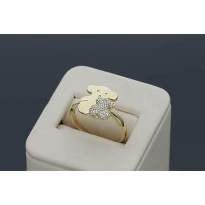 14 Karat Gold & Zirconium Double Fancy Teddy Bear Ring