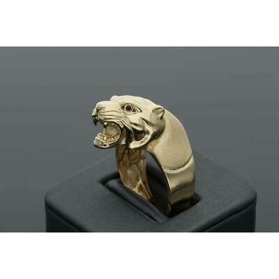 10 Karat Gold & Zirconium Mate Panther Ring