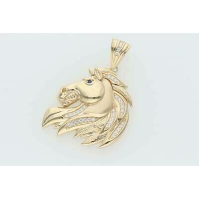 14 Karat Gold & Zirconium Wild Horse Charm