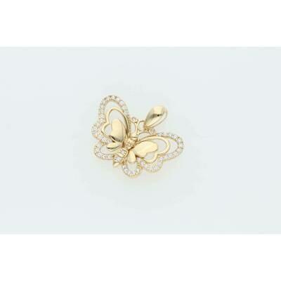 14 Karat Gold & Zirconium Small Butterfly Charm