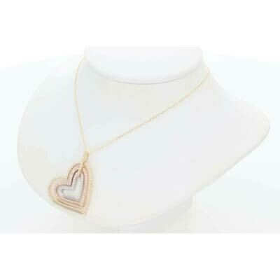 10 Karat Gold & Zirconium Three Tone Three heart Rollo Necklace
