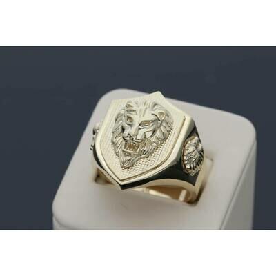 14 Karat Gold Lion Shield Ring