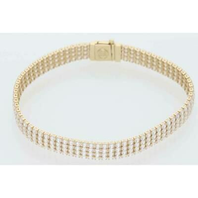 14 Karat Gold & Zirconium Four Line Tennis Bracelet