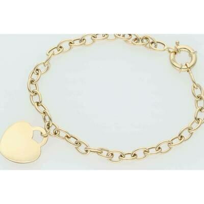 14 Karat Gold Plain Heart Rollo Bracelet