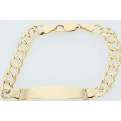 14 Karat Solid Gold Italian Curb ID Bracelet