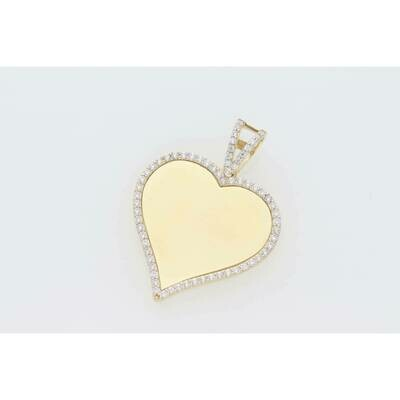 10 Karat Gold & Zirconium Heart Photo Charm