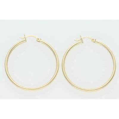 14 Karat Gold Textured Medium Hoops