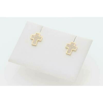 14 Karat Gold & Zirconium Tiny Cross Earrings