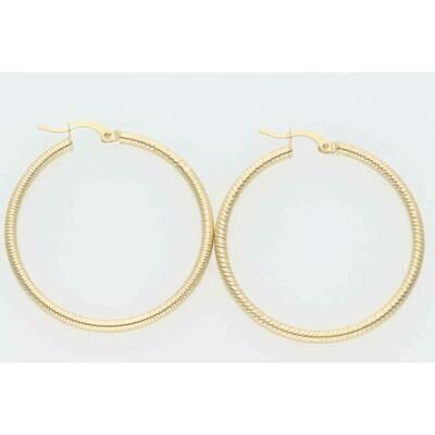14 Karat Gold Plain Round Large Hoops