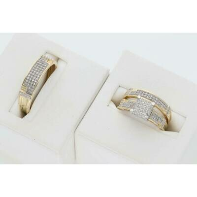 10 Karat Gold & Diamond Square Design Wedding Trio Set Ring