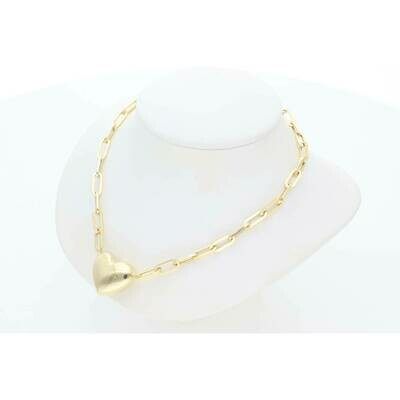 14 Karat Gold Pump Heart Thick Long Rollo Necklace