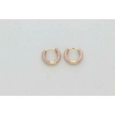 14 Karat Gold & Zirconium Pink Round Hoops
