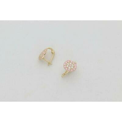 14 Karat Gold & Zirconium White Pink Flower Circle Earring Hoops