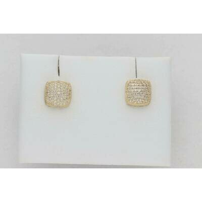 14 Karat Gold & Zirconium Pump Square Earrings